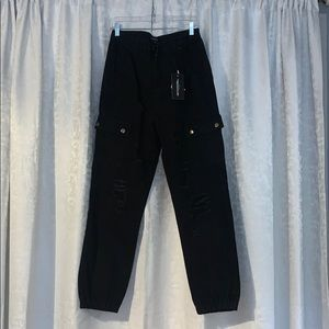 Black Distressed Cargo Pants